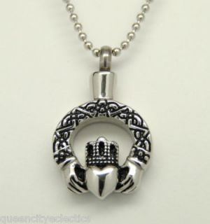 IRISH CELTIC CLADDAGH CREMATION URN JEWELRY STAINLESS STEEL URN PET