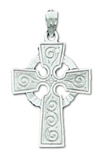 New 14k White Gold Irish Celtic Cross Pendent Necklace