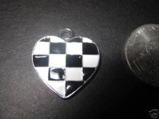 New Checkered Racing Flag Heart Charm NASCAR F1 IRL