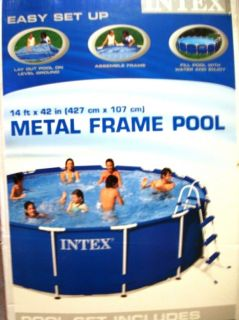 Intex 14 ft x 42 in Metal Frame Above Ground Swimming Pool Complete