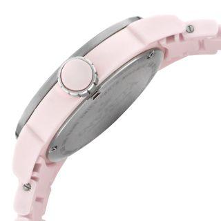 Ladies Invicta 1167 White Dial Pink Ceramic Date Swiss Quartz Watch
