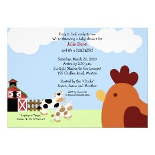 Rise n Shine Barnyard Cow Chicken Baby Shower Personalized