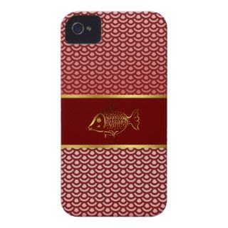 Elegant Asian Inspired Red Scales & Fish iPhone 4 Case Mate Case