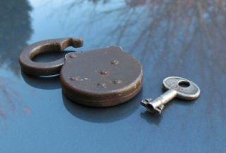 Old Antique Lock Corbin Ironclad Six Levers Padlock w Key PatD 5 26