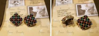 Fashion Swarovski Multi Color Crystal Gold Plated Square Pin Studs
