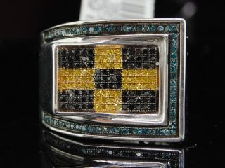 Mens White Gold Finish Colored Diamond Pinky Ring Pave