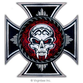 Huge Iron Cross Savage Skull Tattoo Biker Jacket Rider Vest