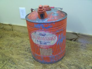 Antique Old Ironside 5 Gallon Metal Gas Can