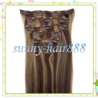 157Pcs Clips In Remy human hair extensions#4/27  medium brown with