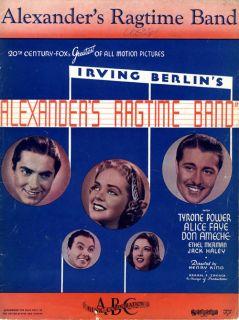 Alice Faye 1938 Irving Berlins Movie Alexanders Ragtime Band Sheet
