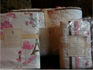 QUILT+ STANDARD SHAM+ PARIS TOILE TWIN SHEET SET BRAND NEW IN PACKAGE