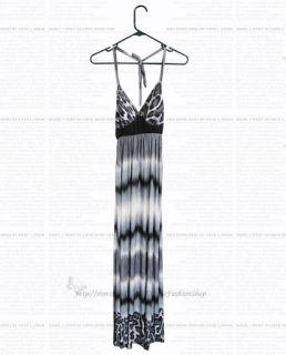 Korean Style Womens Halter Low Cut Leopard Empire Long Maxi Dress s L