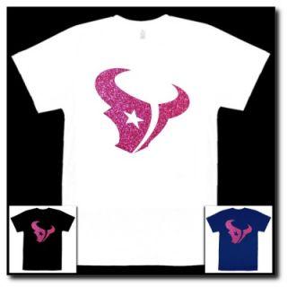 Houston Texans Logo in Pink Glitter Ultra Metallic Auto Car Window