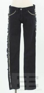 Isabel Marant Silver Studded Leather Trim Dark Skinny Jeans Size 1 New
