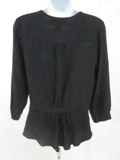 Isabel Lu Blk Silk Button Down Long Sleeve Blouse Sz S
