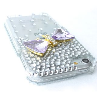 3D Bow Tie Clear Bling Hard Case Cover Apple iPod Touch 5 5G Accessory