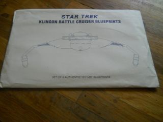 STAR TREK KLINGON BATTLE CRUISER BLUEPRINTS SET OF 8 AUTHENTIC NEW