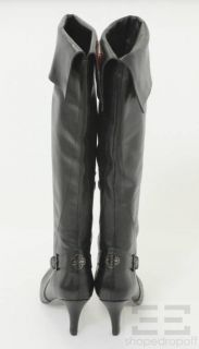 Isola Black Leather Knee High Boots Size 8 New