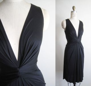 ISSA LONDON Little Black Sleeveless V Neck Twist Silk Jersey Dress  UK