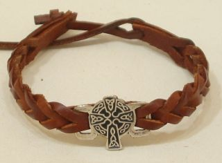 IRISH CELTIC CROSS LEATHER FRIENDSHIP BRACELET WRIST BAND WOMENS