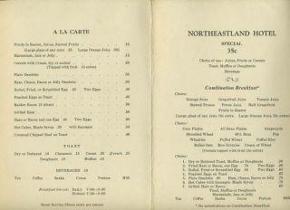 The Northeastland Hotel Menu Presque Isle Maine 1940S