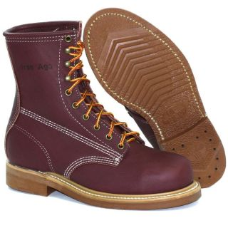 Iron Age 645 Mens Steel Toe Burgundy Leather Boot 8 D