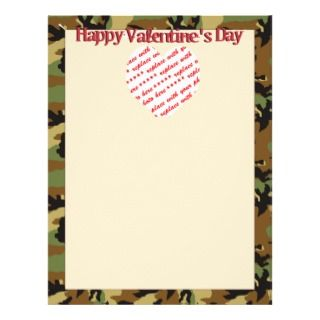 Camo Heart Valentines Day Photo Frame Flyers
