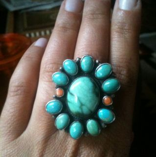 Kee Nez Native American Turquoise Coral Sterling Silver Ring