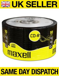 50 CDR Maxell Blank Discs CD R Recordable CD 80 mins 52x 700MB