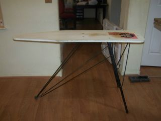 Vintage Wooden Ironing Board with Cast Iron Legs Cover and Pad