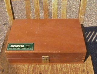 vtg 1970s irwin 13pc. auger bit set in wooden box chest #4 thru #16 w