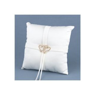 NEW Ivory Satin & Heart Rhinestone Ring Bearer Pillow With all of my