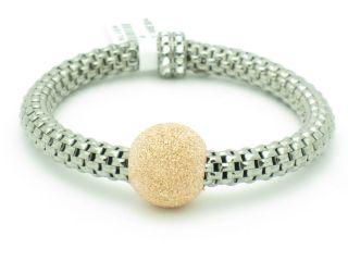 Gold Sterling Silver 925 Italian Mesh Design Stretch Bead Bracelet