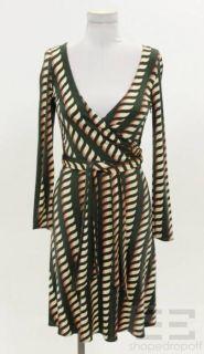 Issa London Green Printed Wrap Dress Size US 4