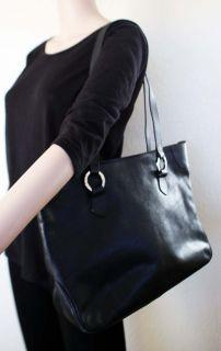 Designer iSANTI Italy Black Pebbled Leather Large Shopper Tote Bag