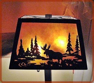 DALE TIFFANY MICA LODGE TABLE LAMP MOOSE WOODLAND RUSTIC NORTHWOODS