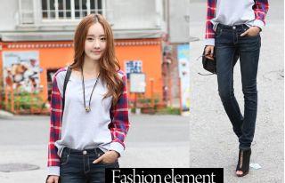 New Autumn Style Korean Round Neck Plaid Splice Loose Long Sleeve T