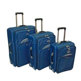 3PC Blue Deluxe Expandable Rolling Luggage Set Travel Wheeled Upright