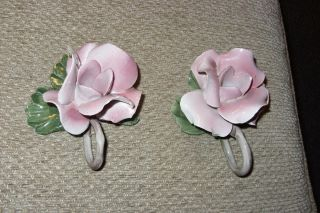 Italian Capodimonte Porcelain Pink Rose Nuova Flower Candle Holder