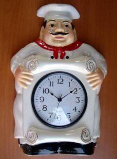 Italian Fat Bistro Chef Wall Clock Kitchen Decor
