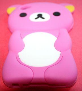 iPOD TOUCH 4G 4th GEN HOT PINK CUTE TEDDY BEAR 3D SOFT RUBBER SKIN