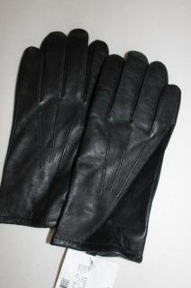 Isotoner Fine Grain Leather Cashmere Lined Black Gloves Mens Medium