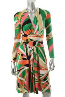 Issa London NEW Multi Color Silk Jersey Long Sleeve Wrap Casual Dress