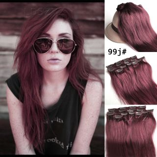 Full Head 26 inch 100gram Clip in Real Human Hair Extension 99J Red