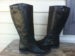 Frye Boot Veronica Slouch Black Women Leather Riding Boot Size 7 $328