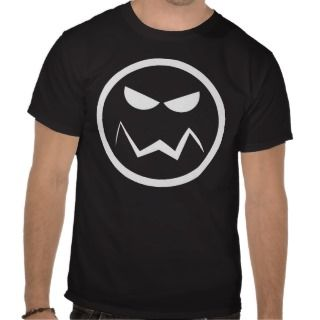 Angry Mean Face T shirt (White On Black)