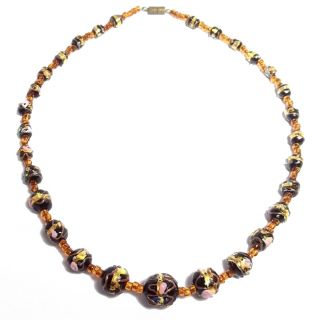 Cake Venetian Italian Glass Bead Necklace Gold Foil Black 20