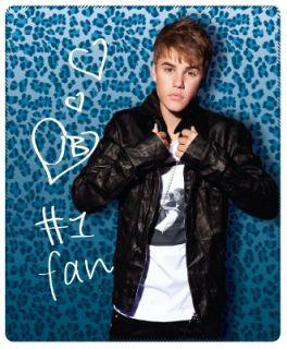 Justin Bieber #1 Fan with Blue Leopard Design Fleece Throw Blanket