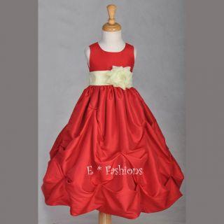 Red Ivory Wedding Taffeta Bridal Pageant Flower Girl Dress 9M 12M 2 3