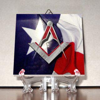 and Compass Texas Flag Ceramic Tile Masonic Freemasonry Masonry